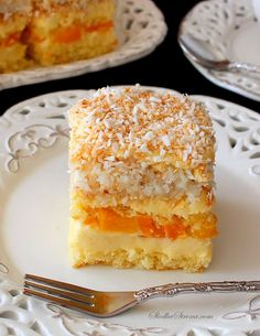 Ciasto Brzoskwiniowo-Kokosowe - Przepis - Słodka Strona Polish Recipes, Food Cakes, Cakes And More, Vanilla Cake, Nutella, Cake Recipes, Food And Drink, Dishes, Fruit