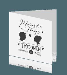 Trouwkaart met profiel in grafische opzet en zwart witte kleuren. #trouwkaarten #profielfoto