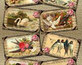 pRImItIvE rOmAnTiC Vintage Art Hang/Gift Tags -BiRds sWaN BuTTerFly - Printable Collage Sheet JPG Digital File-Buy ONe Get ONe FREE