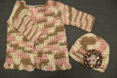 Pink camo crocheted sweater with matching hat on Etsy, $42.00