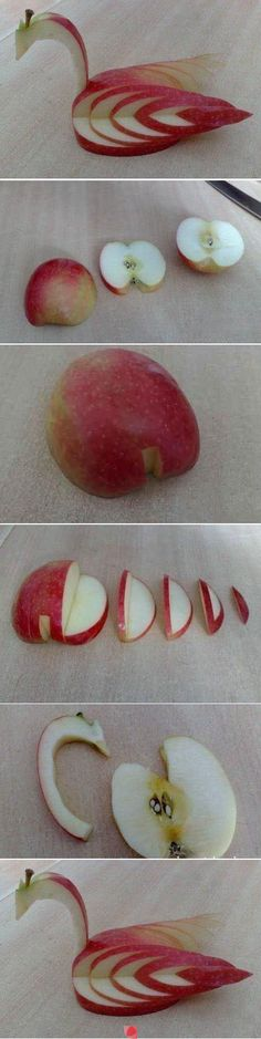 Apple food art - a Bird More fruit Decoration Patisserie, Food Decoration, Food Crafts, Diy Food, Easy Crafts, Fruit Crafts, Handmade Crafts, Food Food, Apple Swan
