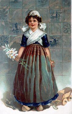 Vintage Dutch ostc card, with a Delft tile background. lb xxx.