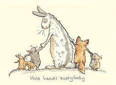 Hold Hands Everybody card by Anita Jeram - Two Bad Mice Art And Illustration, Animal Drawings, Cute Drawings, Anita Jeram, Rabbit Art, Bunny Art, Watercolor Animals, Whimsical Art, Cute Art