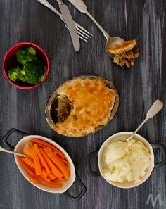 Minced Beef Pie (the original meat pie) Flaky puff pastry with tasty minced (ground) beef filling.   Flavour enhanced with mushrooms, onions, garlic and soy sauce.  A real favourite in our house.  Puff pastry - minced beef - mushrooms - onion - garlic - soy sauce