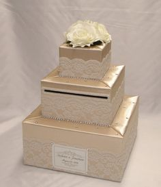 Elegant Custom made Wedding Card Box-lace by ExoticWeddingBoxes