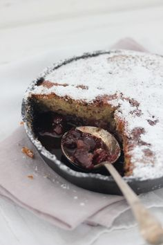 pan cake with butter caramel, salted almonds and whiskey cherries