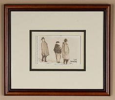 "William Lee Cumming (1917- , Washington) pen & ink on paper Signed drawing of three figures with coats; this piece is a sheet from Cumming's sketchbook Condition good, with slight yellowing of paper Dated 1959 3.75"" x 5.75 image size, 12"" x 14"" f [...more]"