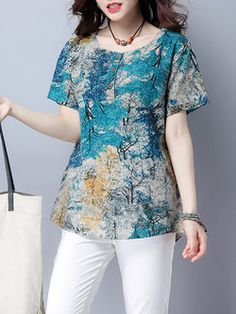 Short Sleeve Abstract H-line Crew Neck Casual Top Midi Dress With Sleeves, Blouse And Skirt, Fashion Pants, Fashion Outfits, Western Dresses, Blouse Vintage, Blouse Styles, Stylish Dresses, Printed Blouse