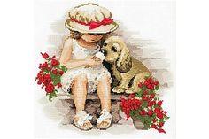 Riolis - Sweeth Tooth : schattige afbeelding van een meisje met haar hond die samen een ijsje verorberen.