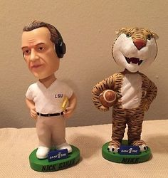 Louisiana State University LSU Mike Tiger Nick Saban Collectible Bobblehead Set