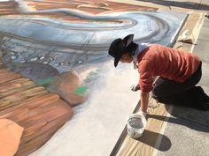 Tracyleestum 3dchalkart  streetpainting streetart ATS Grandesign cadillac  AugmentedReality Sharon Namnath