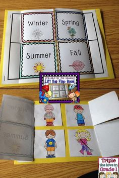 Grade changes Interactive Notebook, for lap books, Weather for kids. Dress for the season lift the flap book! 1st Grade Science, Kindergarten Science, Elementary Science, Science Classroom, Teaching Science, Creative Curriculum Preschool, Seasons Activities, Weather Activities, Science Activities