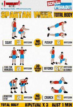 Spartan week: una settimana per dimagrire e tonificare - Pagina 4 di 10 - Workou. Spartan week: a week for weight loss and toning - Page 4 of 10 - Workout-Italy Tabata Workouts, Gym Workout Tips, Dumbbell Workout, Workout Schedule, At Home Workouts, Workout Calendar, Full Body Workout Routine, Full Body Workout At Home, Spartan Workout