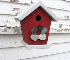 Red Bird House with Metal Flower Accent Home or by baconsquarefarm
