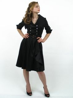 """Lucille"" Plus Size 50's Style Black Modest Dress -- WHY is this only in plus sizes -- it is SO cute! And the model doesn't look plus-sized..."
