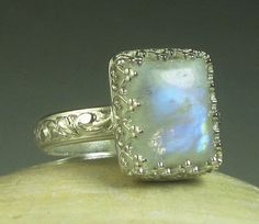 Rainbow Moonstone Ring Sterling Silver by TazziesCustomJewelry, $60.00