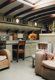 inside a restored dutch barge design by stephen male . Dutch Barge, Barge Interior, Interior Design, Interior Ideas, Canal Boat Interior, Houseboat Living, Houseboat Decor, Houseboat Ideas, Floating House