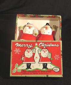 PR. NAPCO CHRISTMAS SANTA BELL CERAMIC ORNAMENTS w/ BOOT CLAPPERS BOXED 1960 MIJ