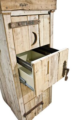 Even though this kind of reminds me of an outhouse, adding wood to a file cabinet is an interesting idea.