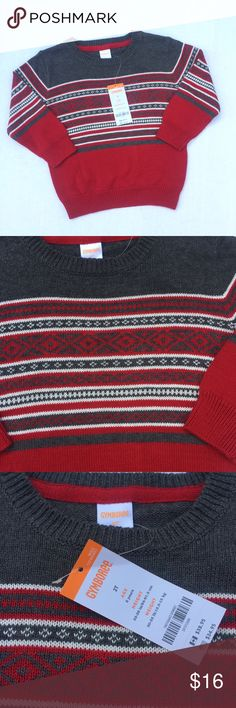 NWT Gymboree Sweater Size 2T NWT sweater by Gymboree.  Adorable gray, white and red sweater.  Perfect for the holidays! Gymboree Shirts & Tops Sweaters