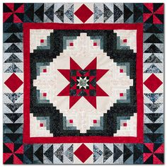 Made from Moda's Fire and Ice batiks. I especially love the borders. Star Quilt Blocks, Star Quilts, Scrappy Quilts, Log Cabin Quilt Pattern, Log Cabin Quilts, Log Cabins, Quilting Projects, Quilting Designs, Quilt Boarders