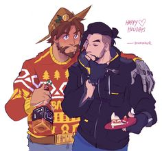 Love how Jesse sticks a candy cane in the bottle and calls it a day Overwatch Hanzo, Overwatch Comic, Overwatch Memes, Overwatch Fan Art, Karina Farek, Yuri, Fanart, Art Of Love, Video Games