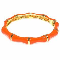 Bamboo Enamel Hinged Bracelet - Orange