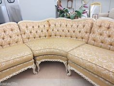 French Provincial Victorian Sofa Sectional Couch Tufted & side ...