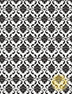 LemonDrop Stop Fun Black White Damask | Artistic, Vintage, Damask & Floral | PolyPaper Photography Backdrops | LemonDrop Stop Photography Backdrops and FloorDrops