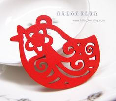 6 PCS  55x35mm Pretty Red Papercut Style Bird Wooden by halocolor, $4.00
