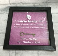A beautiful gift frame suitable for any couple who are moving in to their new home together, this box frame makes a great personalised gift welcoming them in to their New Home. *** CHRISTMAS ORDER DATES - PLEASE READ: *** International orders - 7th November 2016 Although I am still not able to guarantee they will arrive in time for Christmas, international orders close on the 7th November, please ensure you order sooner rather than later to stand a chance of orders arriving on time. - Any…