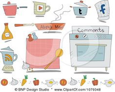 Clipart Set Of Cartoon Cooking Website Icons - Royalty Free Vector Illustration by BNP Design Studio Cartoon Website, Website Icons, Royalty Free Clipart, Royalty Free Stock Photos, Recipe Icon, Bnp, Clip Art Pictures, Free Vector Illustration, Free Cartoons