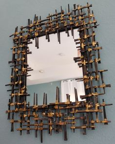 mid century tile wall art | Mid Century BRUTALIST Mirror Metal Signed Wall Sculpture Abstract ...