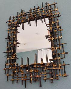 BRUTALIST Wall Mirror, MidCenturyFLA, https://www.etsy.com/listing/168970726/mid-century-brutalist-mirror-metal