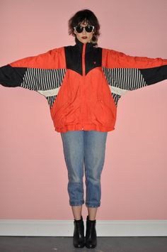 Vintage 80s Red Black White Retro Windbreaker Bat by ShopGoodWitch