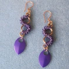 Simple, easy, pretty. Purple Coiled Chainmaille Earrings  NA543 by danglingdivas on Etsy, $42.00