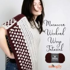 The Moroccan Weekend Wrap is an easy and versatile crochet pattern with right and left-handed video tutorials to help you make your own - on Moogly! Free Crochet Square, Crochet Square Patterns, Crochet Hood, Crochet Wrap Pattern, Crochet Clutch, Crochet Shawl, Foundation Half Double Crochet, Clutch Tutorial, Video Tutorials