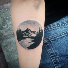 I like this idea, but more vibrant colors. Mountain tattoo by Tobias Schneider. Maybe with a bicycle wheel instead of generic circle? Design Tattoo, Tattoo Designs, Lake Tattoo, Neue Tattoos, Owl Tattoos, Fish Tattoos, Tatoos, Piercings, Forest Tattoos