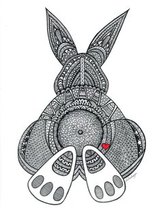 Black and White Zentangle Bunny Butt drawing Print. $15.00, via Etsy.