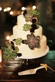A classic three-tiered wedding cake, decorated with a cascade of succulents.