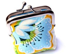 Metal frame coin purse small size blue flower on by SeventhSphere, $16.00