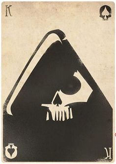 King Of Spades Half a human skull