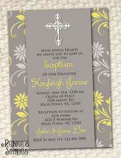 BAPTISM Invitation Printable - also can be used for First Communion, Confirmation, Birthday or Baby Shower