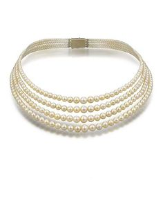 A four-row natural pearl necklace