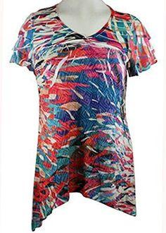 Cubism - Jungle Views, Burnout Side Panels V-Neck, 3/4 Sleeve Fashion Top