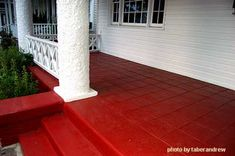 porch paint ideas Porch steps are not only functional but can add curb appeal to your porch. Front porch steps, if designed correctly, can make a small porch appear larger or a large Painted Concrete Steps, Painted Porch Floors, Porch Paint, Concrete Porch, Porch Flooring, Painting Concrete, Stained Concrete, Concrete Staining, Front Porch Steps