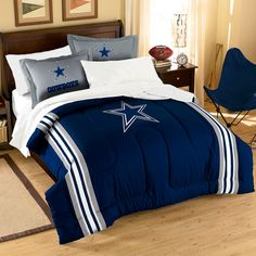 Make your room announce, a true Dallas Cowboys fan lives *and* sleeps here!  Our 7 piece Dallas Cowboys Bed in a Bag Sets make an ideal central point for all your other team gear.  Whether game night or just another night for sleeping, the bold and large applique logo stands out against the solid color background.  #dallascowboys #cowboysnation #cowboysblanket #cowboysbedding Purchase @ http://www.mysportsdecor.com/dallas-cowboys-bed-in-a-bag-contrast-series-full.html