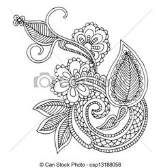 Clipart Vector of Neckline embroidery design- floral ornamented ...
