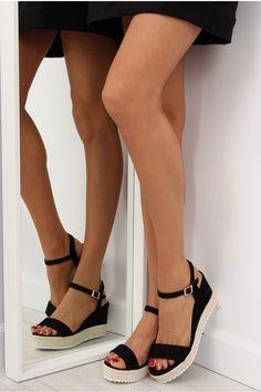 Σουέντ πλατφόρμες - Μαύρο Black Sandals, Clogs, Espadrilles, Fashion, Black Flat Sandals, Clog Sandals, Espadrilles Outfit, Moda, Fashion Styles