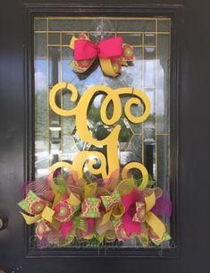 Single Letter Monogram Door Hanger – Seven Pineapples Designs Door Monogram, Monogram Letters, Old Door Projects, Pineapple Design, Spring Door, Wood Doors, Door Hangers, Design Your Own, Embellishments